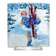 The Aerial Skier - 3 Shower Curtain by Hanne Lore Koehler