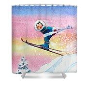The Aerial Skier - 7 Shower Curtain by Hanne Lore Koehler
