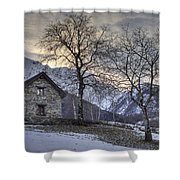 the alps in winter Shower Curtain by Joana Kruse