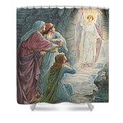 The Appearance Of The Angel Shower Curtain by Ambrose Dudley