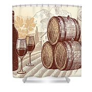 The Best Vintage Wine Shower Curtain by Cheryl Young