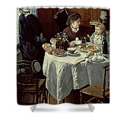 The Breakfast Shower Curtain by Claude Monet