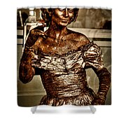 The Bronze Lady in Pike Place Market Shower Curtain by David Patterson