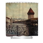 The Chapel Bridge In Lucerne Switzerland Shower Curtain by Susanne Van Hulst