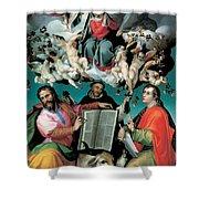 The Coronation Of The Virgin With Saints Luke Dominic And John The Evangelist Shower Curtain by Bartolomeo Passarotti