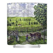 The Dairy Farm Shower Curtain by Ronald Haber