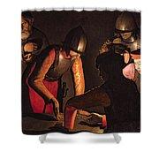 The Denial Of Saint Peter Shower Curtain by Georges De La Tour