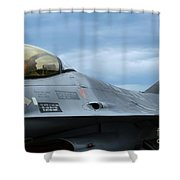 The F-16 Aircraft Of The Belgian Army Shower Curtain by Luc De Jaeger
