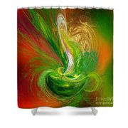 The Feathering Teacup Shower Curtain by Andee Design