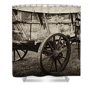 The First Station Wagons Shower Curtain by Paul W Faust -  Impressions of Light