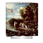 The Four Elements  Shower Curtain by Flemish School