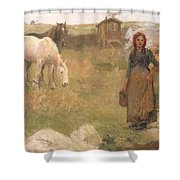 The Gypsy Camp Shower Curtain by Harold Harvey