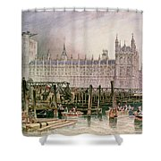 The Houses Of Parliament In Course Of Erection Shower Curtain by John Wilson Carmichael