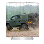 The Iveco Light Multirole Vehicle Shower Curtain by Luc De Jaeger