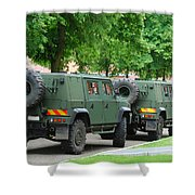 The Iveco Lmv Of The Belgian Army Shower Curtain by Luc De Jaeger