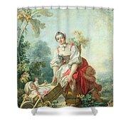 The Joys Of Motherhood Shower Curtain by Jean-Honore Fragonard