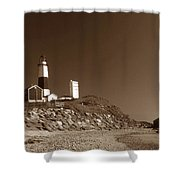 The Light At Montauk Point Shower Curtain by Skip Willits