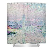 The Lighthouse at Antibes Shower Curtain by Paul Signac