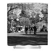 The Mall At Central Park In Black And White Shower Curtain by Rob Hans