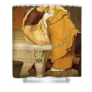 The Mirror Shower Curtain by Sir Lawrence Alma-Tadema
