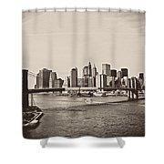 The New York City Skyline And The Brooklyn Bridge Shower Curtain by Vivienne Gucwa