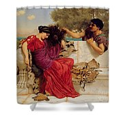 The Old Story Shower Curtain by John William Godward