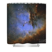 The Pacman Nebula Shower Curtain by Ken Crawford