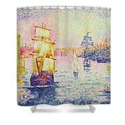 The Port of Marseilles Shower Curtain by Henri-Edmond Cross