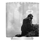 The Praying Monk With Halo - Camelback Mountain Bw Shower Curtain by James BO  Insogna