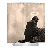 The Praying Monk With Halo - Camelback Mountain Shower Curtain by James BO  Insogna