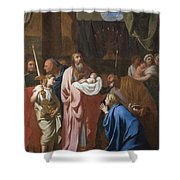 The Presentation Of Christ In The Temple Shower Curtain by Charles Le Brun