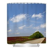 The Road Ahead Is Lined In Red Shower Curtain by Kathy Clark
