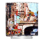 The San Francisco Stockton Street Tunnel . 7D7355 Shower Curtain by Wingsdomain Art and Photography
