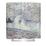 The Sea During Equinox Boulogne-sur-mer Shower Curtain by Theo van Rysselberghe
