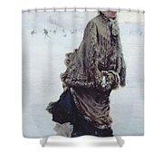 The Skater Shower Curtain by Joseph de Nittis