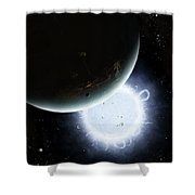 The Tiny Moon Rakka Ume Travels Shower Curtain by Brian Christensen