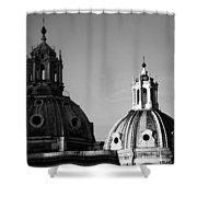 The Twin Domes Of S. Maria Di Loreto And Ss. Nome Di Maria Shower Curtain by Fabrizio Troiani