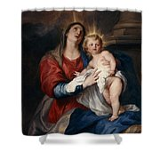 The Virgin And Child Shower Curtain by Sir Anthony Van Dyck