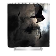 The Vultures Have Gathered In My Dreams . Version 2 Shower Curtain by Wingsdomain Art and Photography