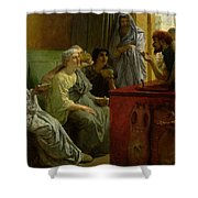 The Wine Shop Shower Curtain by Sir Lawrence Alma-Tadema