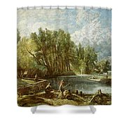 The Young Waltonians - Stratford Mill Shower Curtain by John Constable