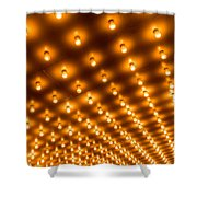 Theater Marquee Lights In Rows Shower Curtain by Paul Velgos