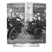 Thomas Edison In Quadricycle Shower Curtain by Photo Researchers