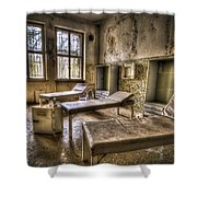 Three Beds Horror Shower Curtain by Nathan Wright