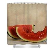 Three Bites Of Summer Shower Curtain by Priska Wettstein
