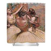Three Dancers Shower Curtain by Edgar Degas