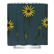 Three Yellow Flowers Shower Curtain by Deddeda