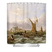 Tilbury Fort - Wind Against the Tide Shower Curtain by William Clarkson Stanfield