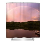 Timing Is Divine Rainbow Over Vermont Mountains Shower Curtain by Stephanie McDowell