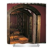 To The Wine Cellar Shower Curtain by Renee Trenholm